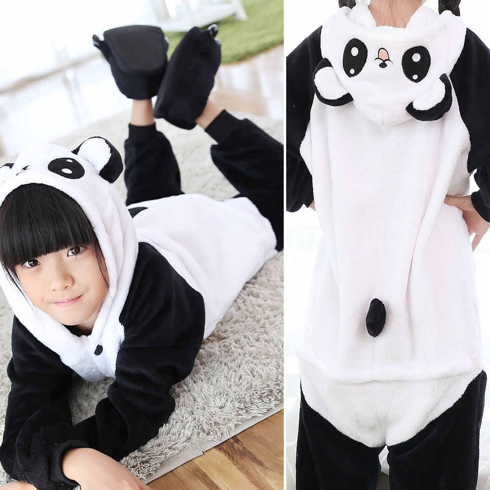 Kids kigurumi Panda Pajamas Onesie,Children Animal Pikachu Sleepwear Costume Anime Hoodie Pyjama For Girls Boys Sleepers Pajamas