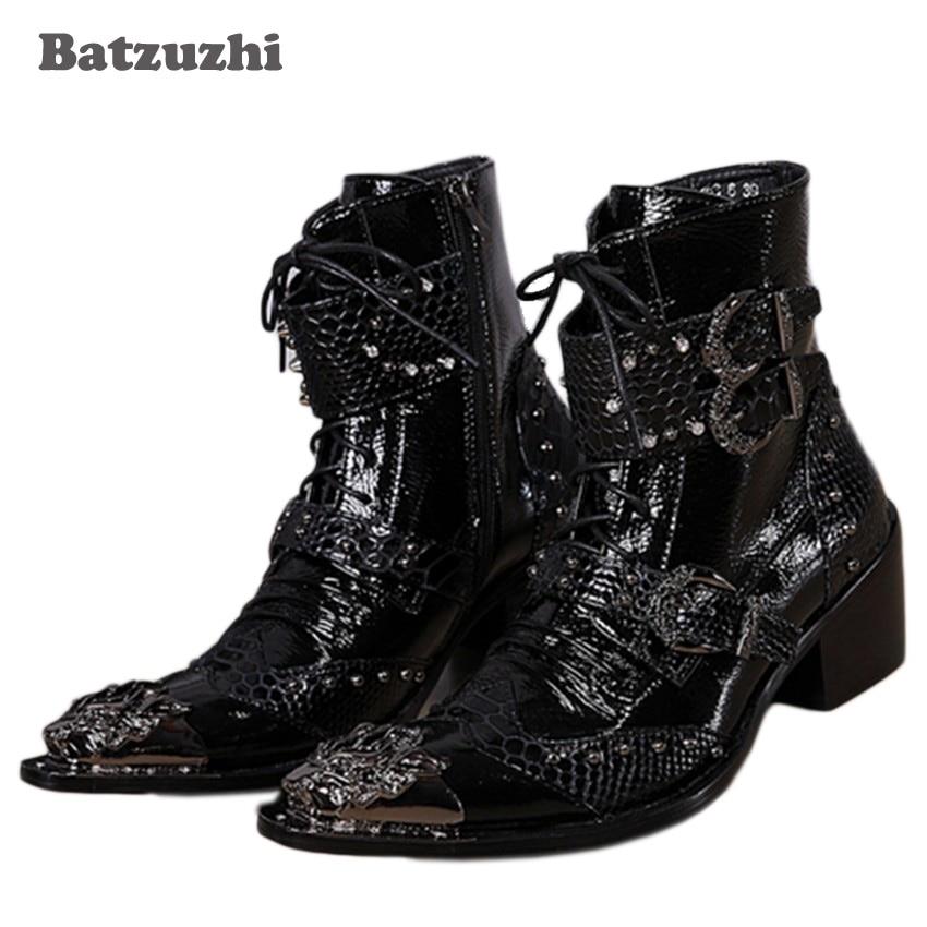 Batzuzhi-6CM Heels Black Men Boots Punk Style Handsome Boots Pointed Toe Iron  Buckle Lace-up Motocycle Boots  EU38-46