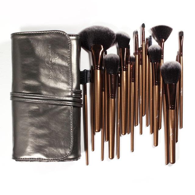 21 Unidades de Maquillaje Profesional Brush Sets Negro Oro Pelo Sintético Ultra-fino con gris Plata Bolsa de Cuero
