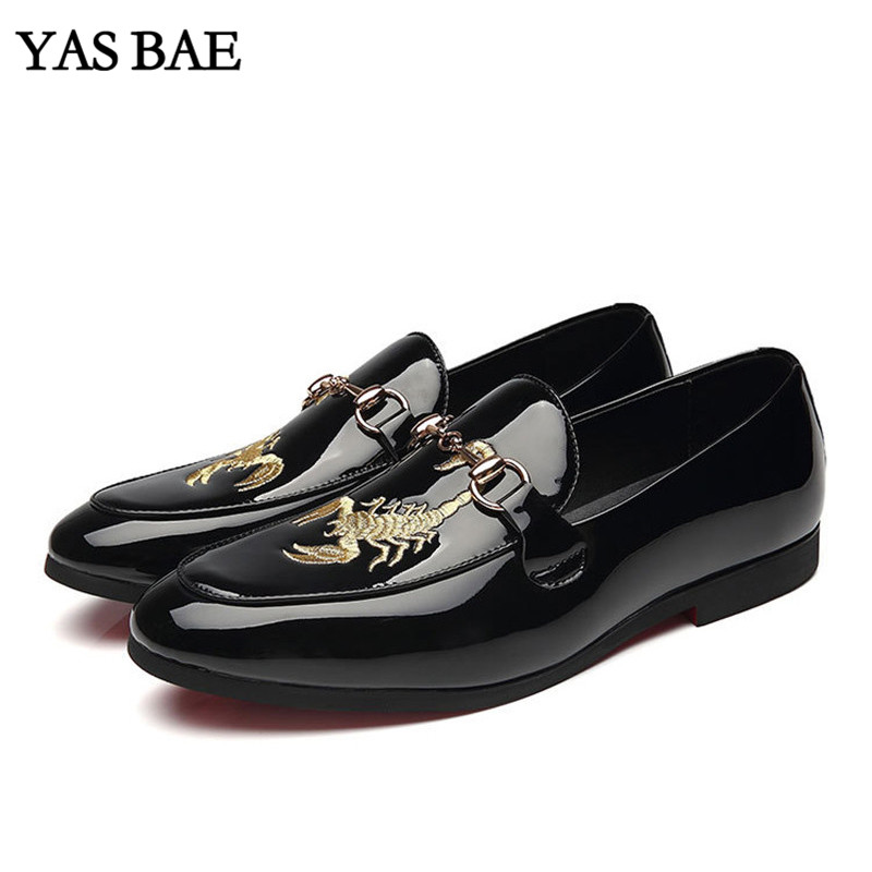 Male China Brand italian Fashion Style Leather Leisure Embroidery Social Formal Shoe Patent Leather Black Cheap