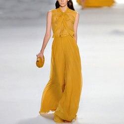 Frauen Zwei Stück Outfits Neue Sommer Mode Frauen Hosen Anzug Damen Slim Ärmellose Bluse Breite Bein Hosen Anzug Zwei Stücke set