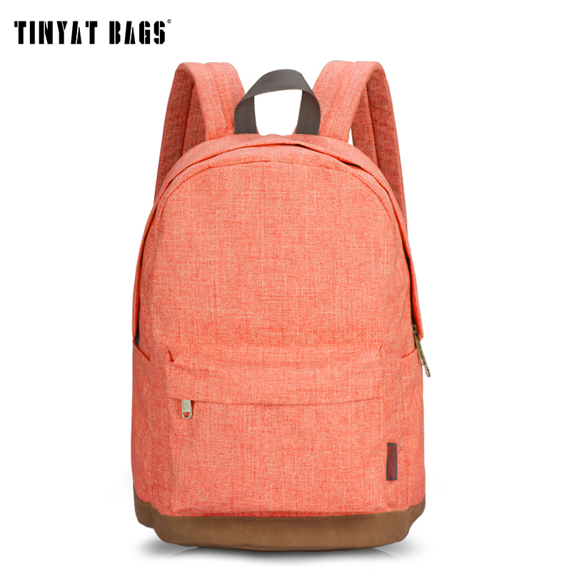 TINYAT Girl Women Backpack Canvas School backpack for teenages Casual Rucksacks for girls Student Backpack Canvas