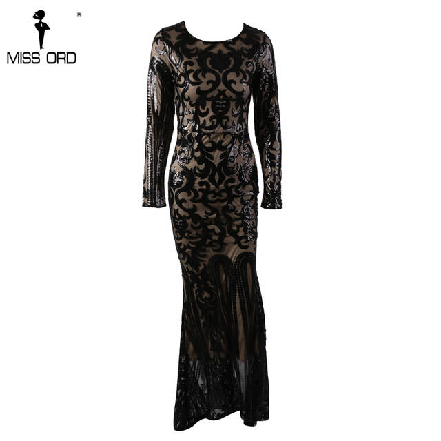 b8e2a7ed7fd US $48.59 19% OFF Missord 2019 Sexy O Neck Long Sleeve Retro Sequin Maxi  Gorgeous Reflective Dress FT8578-in Dresses from Women's Clothing on ...