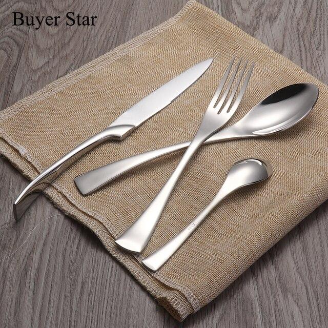 1624pcs/set Stainless Steel Tableware Cutlery Sets Mirror Polished Silver Plated Metal Tableware Western Dinner Fork Knife Scoop 1