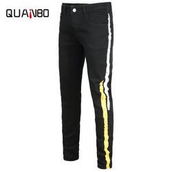 QUANBO мужские черные узкие эластичные джинсы в стиле панк мода Slim Fit эластичный пояс Джинсы для женщин печати джинсовые узкие брюки плюс