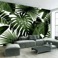 Custom Foto Tapete Retro Tropical Regen Wald Palm Banana Blätter 3D Wandbild Cafe Restaurant Thema Hotel Hintergrund Fresken