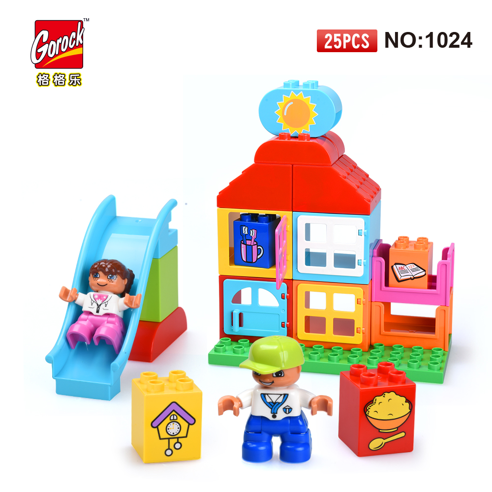 GOROCK 1024 Big Building Block Set children Educational Bricks Toys 25Pcs For Birthday Gifts Toy For Baby Compatible With Duploe 26pcs wooden fun big building block with animal brand top bright high quality for baby kid toy gift boy brinquedo menina tp048