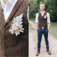Дешевые деревенские Свадебные коричневые шерстяные твидовые жилеты с узором в елочку на заказ жилет для жениха приталенный мужской костюм жилет свадебный жилет