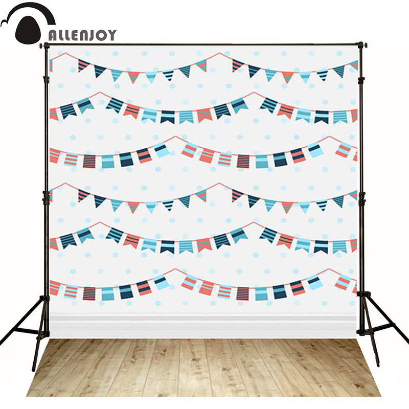 Allenjoy Photographic background flag dot wood splice white baby happy birthday vinyl backdrops for sale photocall