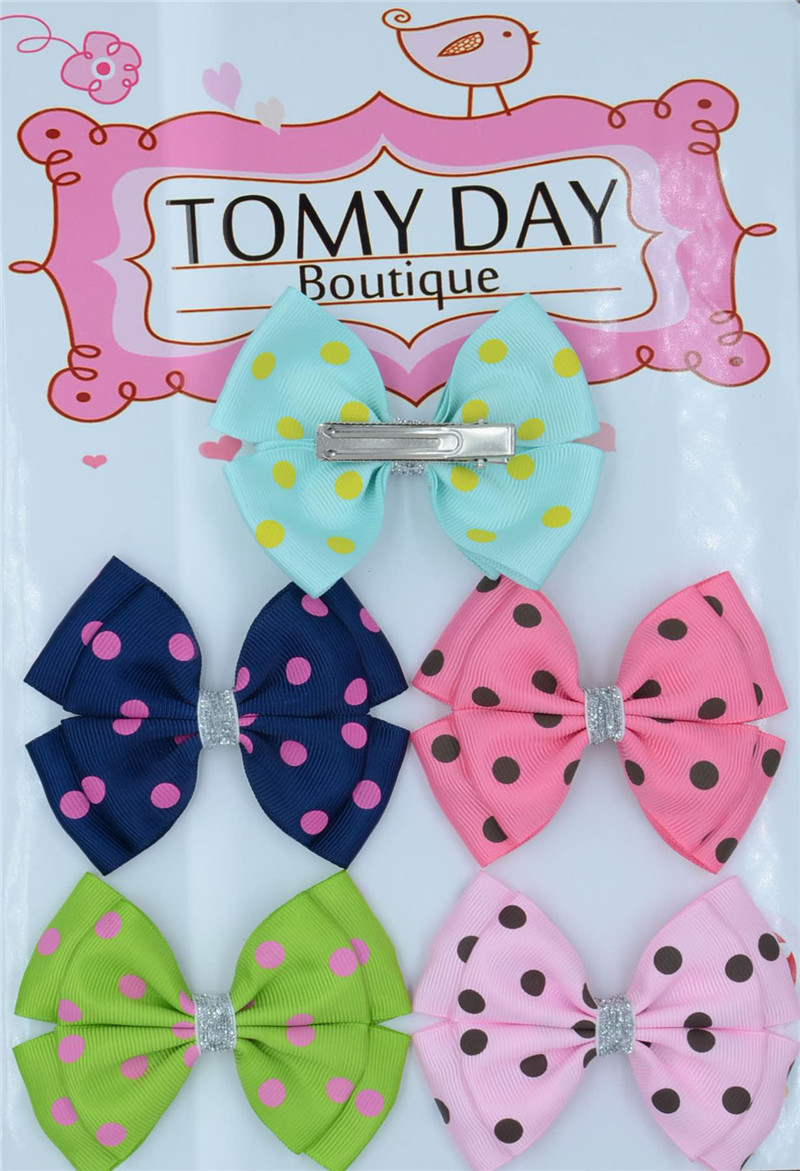 12 color Ribbon Silver Bow Hairpins Girl little hair DOTS clips Bowknot for Baby Children accessories