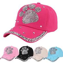 92964e6a711b5 Fashion Shiny Rhinestone Paw Baseball Cap Women Sun Hat Hip Hop Sports  Snapback(China)