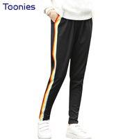 Casual Sportswear Women Trousers Pattern Striped Slim Women S Plus Size Pencil Sweatpants Black Elastic Waist