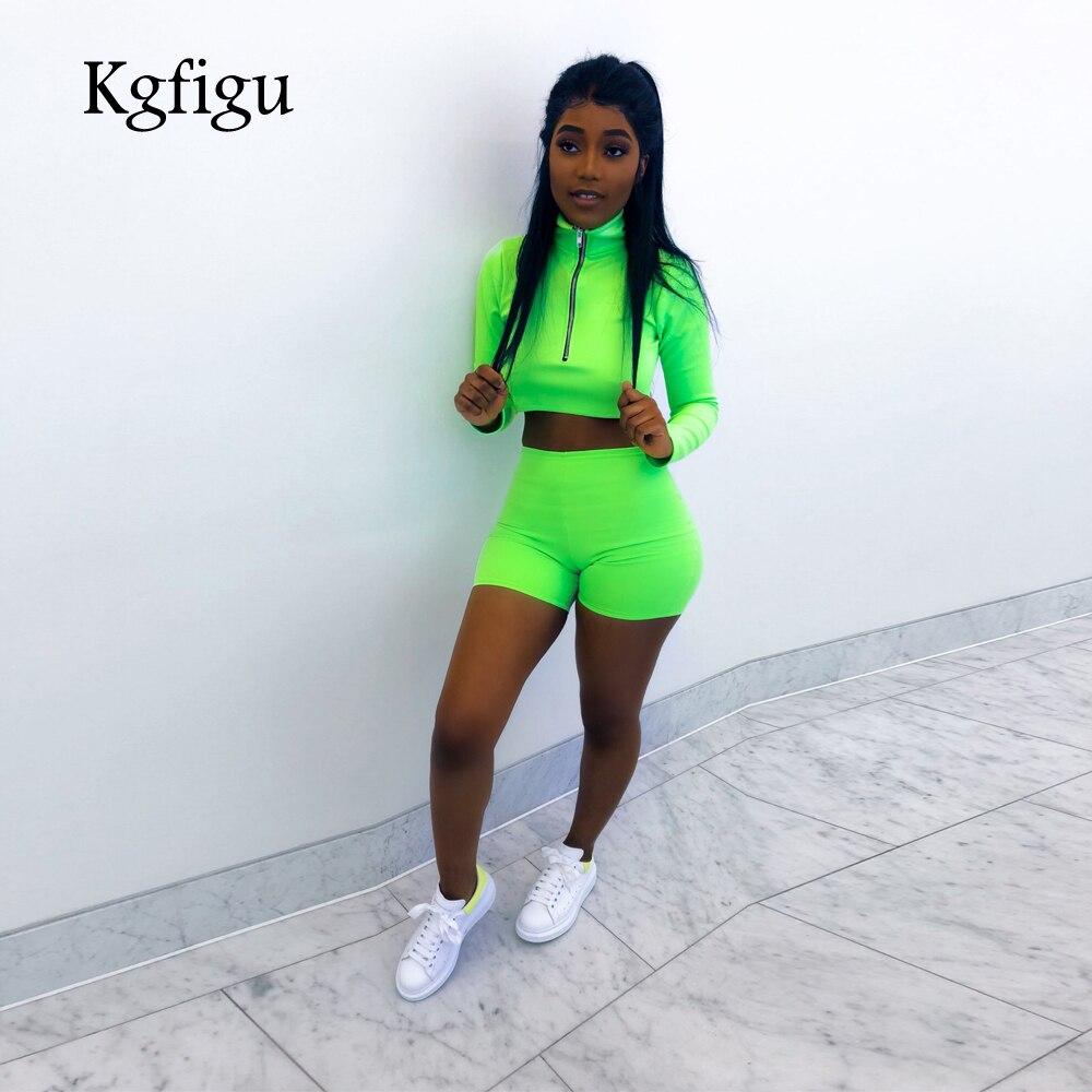 Hottest Fashion Trends 2019: KGFIGU Neon Green Tracksuit Women 2019 Hottest Fashion