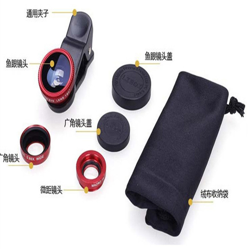 NEW ! Mobile Phone Lenses Clip Universal 3in1 Clip Fish Eye Lens Wide Angle lens Macro Mobile Phone Lens For iPhone For Samsung