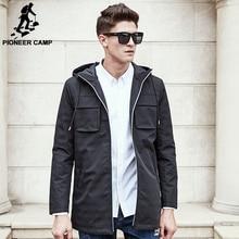 Pioneer Camp 2017 Новое Пальто Мужчины марка одежды качества Пальто мужской Одежды Длинный черный серый Куртки и Пальто 611312(China (Mainland))