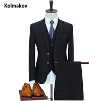 KOLMAKOV 2017 new arrival High quality men's Business casual suits blazer,single breasted slim suit men ,Wedding dress . S-3XL
