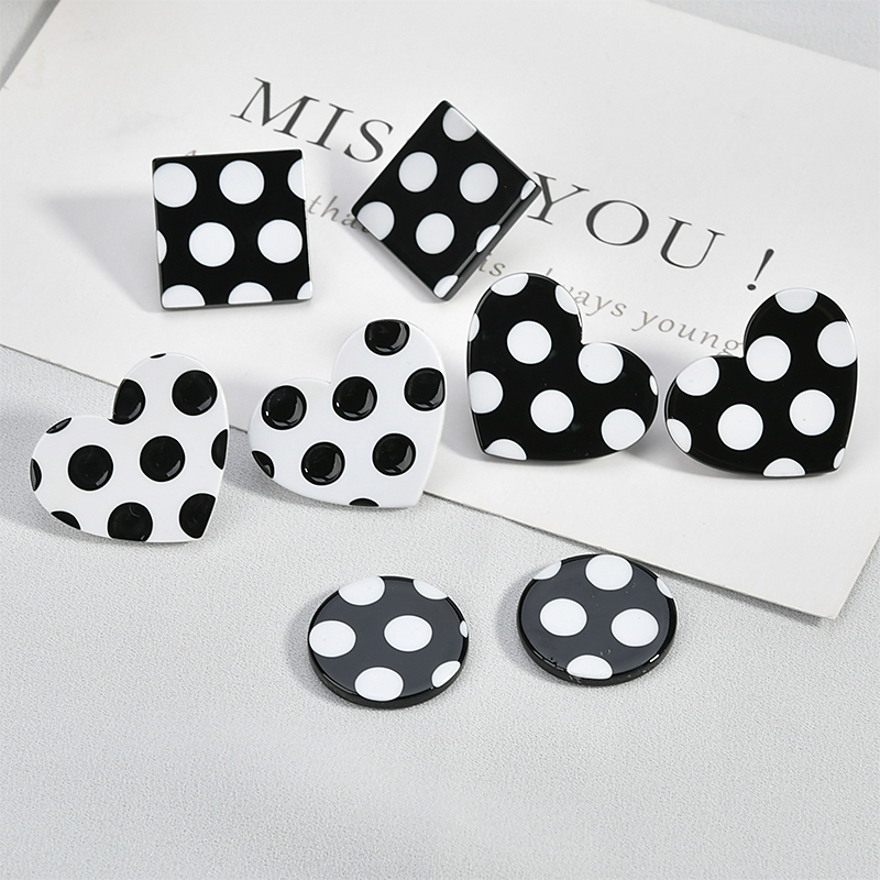 Wave point control retro stylish square round peach heart black and white acetate patch DIY earring accessories materials in Jewelry Findings Components from Jewelry Accessories