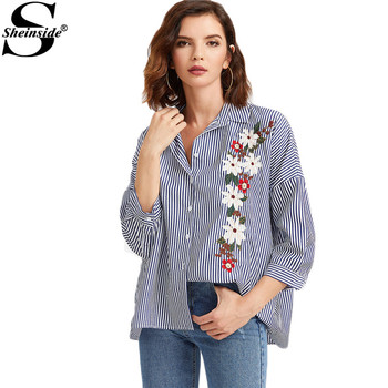 Sheinside Floral Embroidery Blouses Women Blue Stripe Vintage Shirt 3/4 Sleeve Button Up Tops 2017 Spring Lapel Casual Blouse
