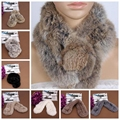Women Real Rabbit Fur Scarf Shawl Cape Wrap Collar Stole Winter Scarf New LTT9093