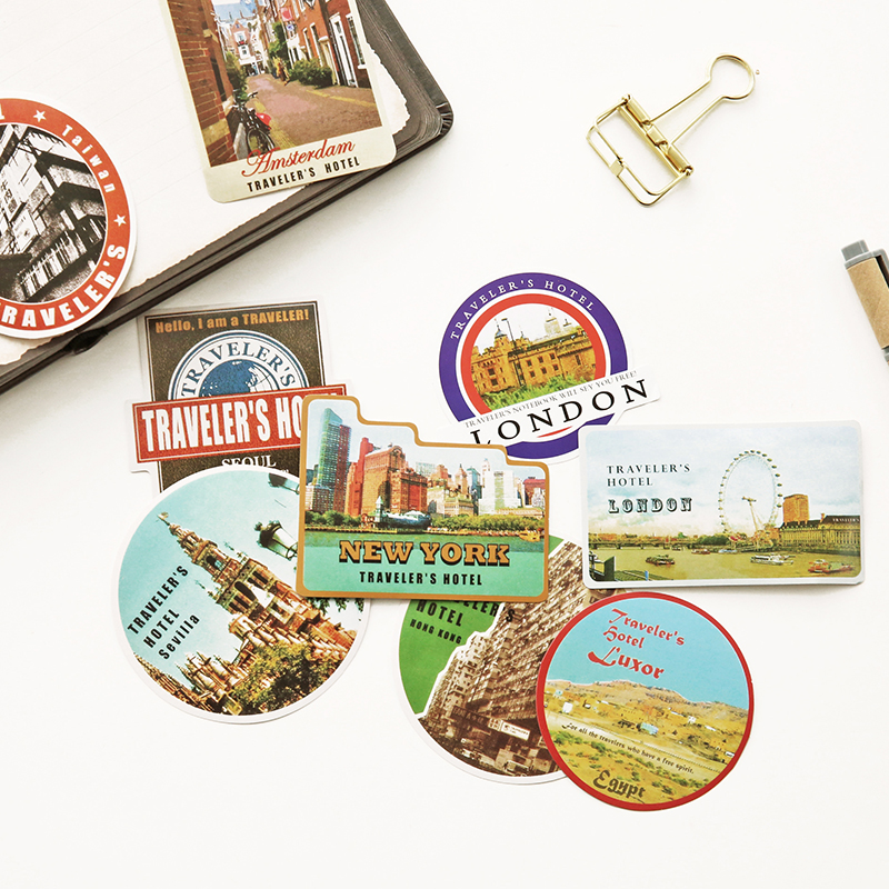 Vintage Series Traveler Stamp Stickers For Midori Traveler's Notebook Decoration Retro Stationery Sticker Notebook Accessories