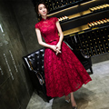 Red Lace Tea Length Evening Dress 2016 Spring Summer  Slim Bridemaid  Formal Dress Prom Dress Tailor Made  8colors