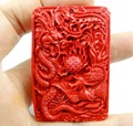 58*38MM Chinese Red Organic Cinnabar pendant necklace Dragon and Phoenix hand-carve P81