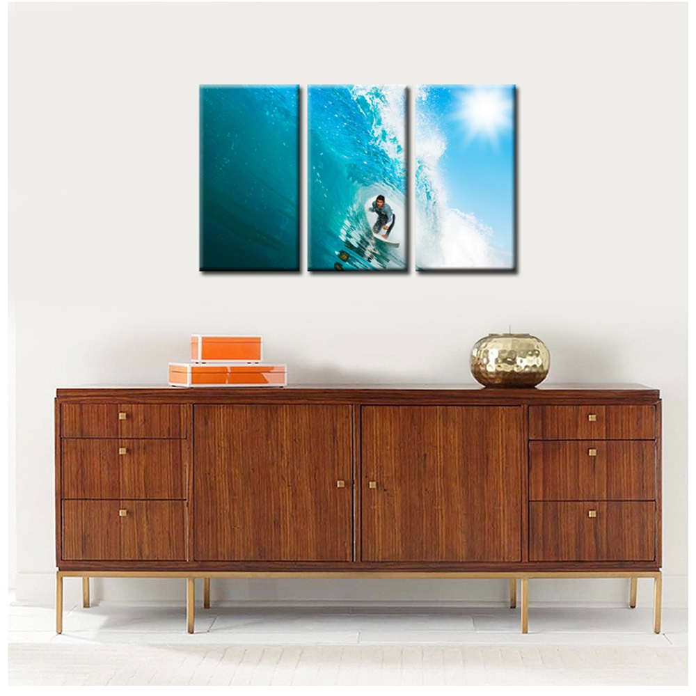 Hd Printed DIY Digital Canvas Men Water Wet Surf Home Decoration Pictures Wall Art Picture Decor Modular 40x75cmx3pcs In Painting Calligraphy