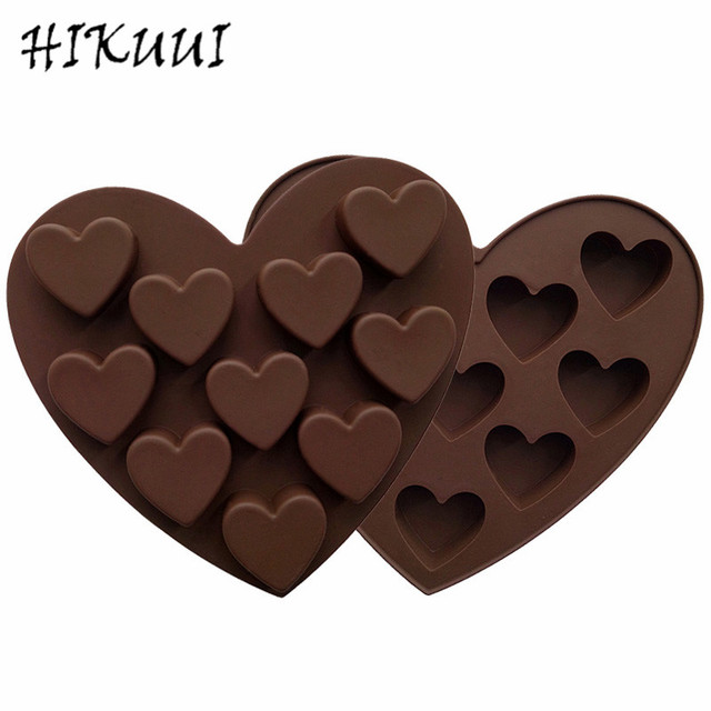 Love Valentine S Day Silicone Chocolate Moulds Heart Shape Diy Brown