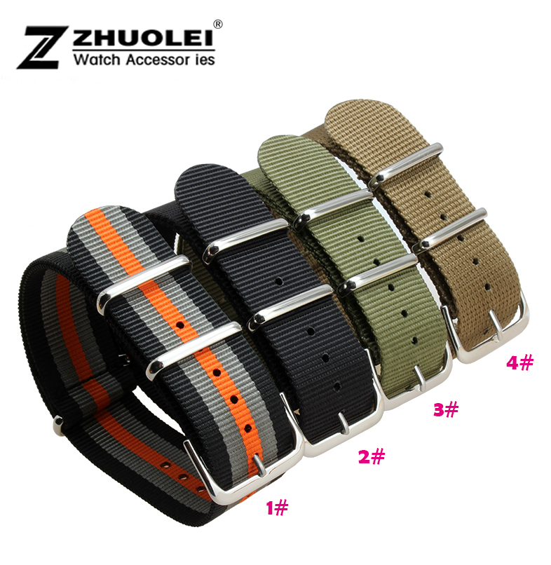 Wholesale 18mm 20mm 22mm  24mm Black Sports nato fabric Nylon watchband Watch Strap accessories Bands Buckle belt zlimsn 5pcs lot nato nylon strap mens watchbands belt silver black watch bands metal buckle watchband relojes hombre 2017 22mm