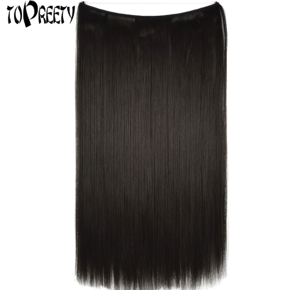 TOPREETY Heat Resistant B5 Synthetic Hair 24 60cm 100g Straight Elasticity Wire Halo Hair Extensions