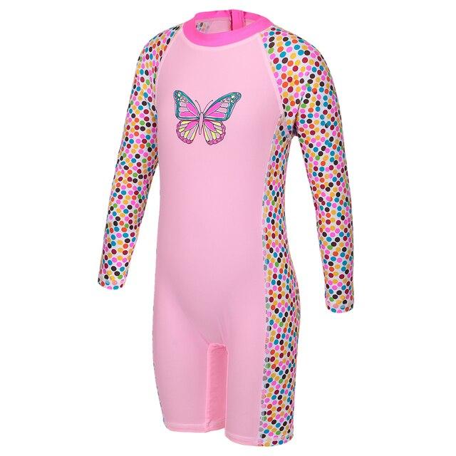 67247fd394 Girls Rash Guard Kids Long Sleeve One Piece Swimsuit Sun Protection  (UPF50+) Bathing Suit for Baby Girls Children Beach Wear