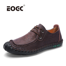 Artı boyutu hakiki deri erkek rahat ayakkabılar kaymaz loaferlar Flats ayakkabı erkekler nefes açık konfor yürüyüş erkek ayakkabısı