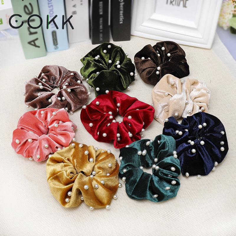 Women Velvet Scrunchies Solid Hair Ring Ties For Girls Ponytail Holders Rubber Band Elastic Hairband Accessories Pearl Bead