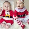 Новые Дети Рождество Комплект Одежды Мальчиков и Девочек Рождество Костюм и Платье Санта-Клауса Костюмы Новорожденного Enfant Одежда
