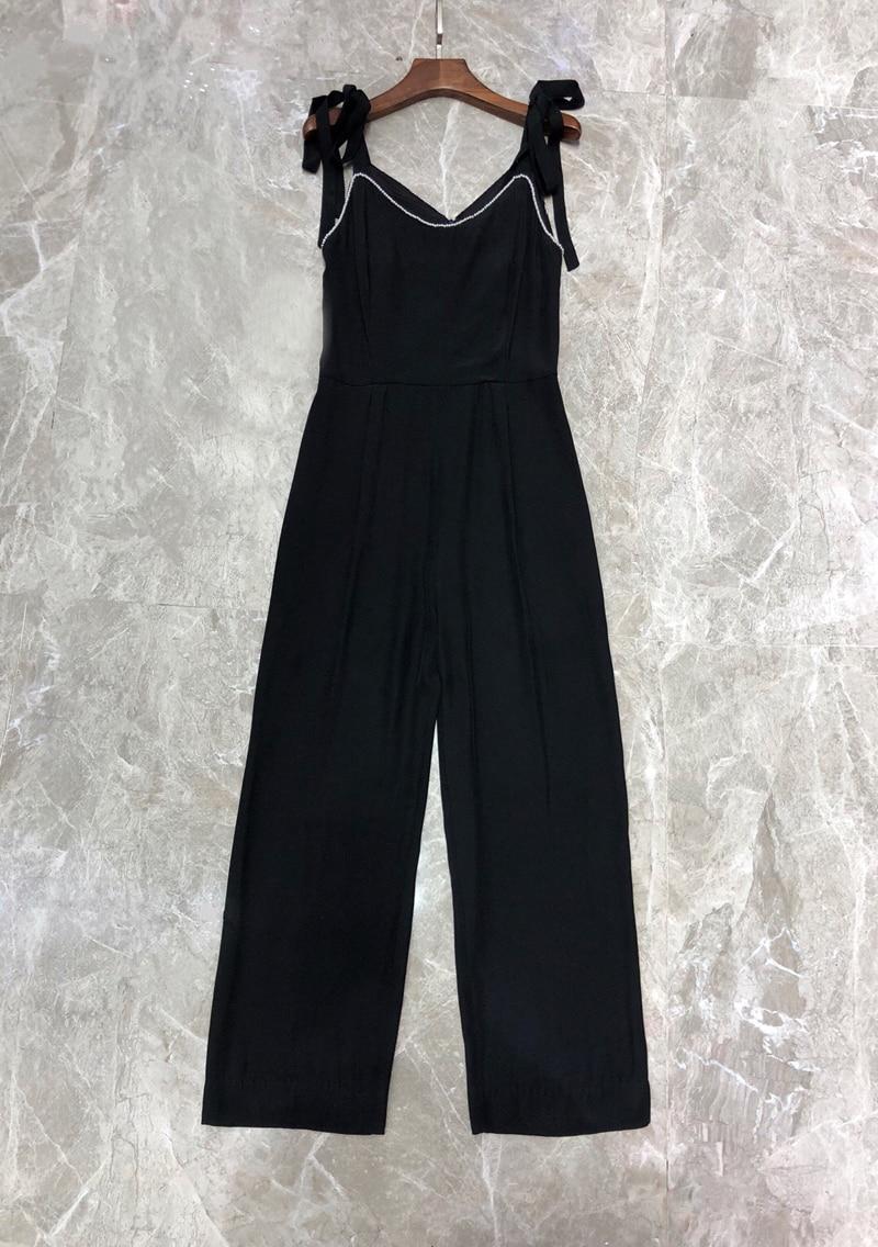 Elegant Women Long Jumpsuit for Women Long Pants Jumpsuit with Bows Black Women Jumpsuits