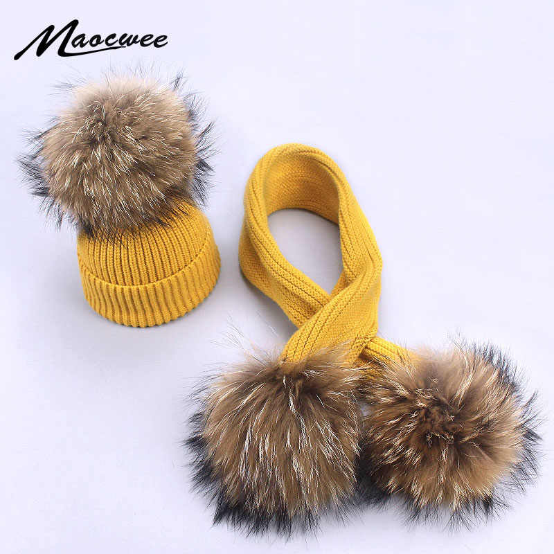 New Winter Baby Girls Boy Real Raccoon Knitted Hat Scarf Set With Fur Pompom Ball Caps Baby Children Hats Kids Warm Beanie Suits