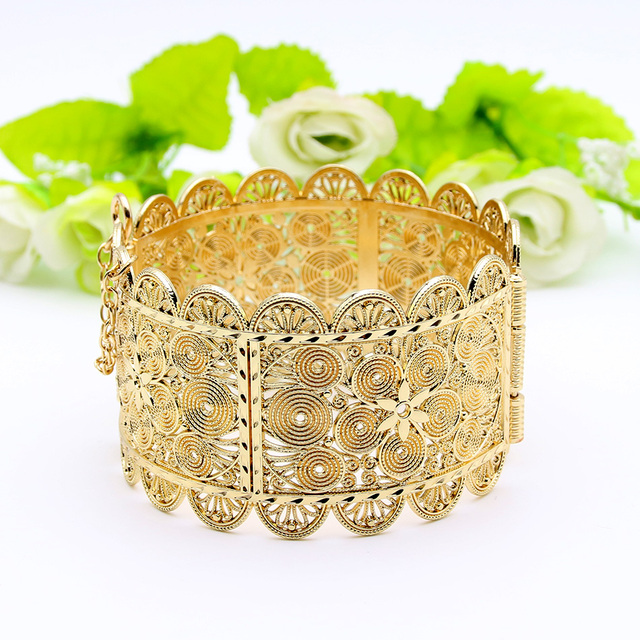 Exquisite Arab Women Armlet Plus Size Bangle Bracelet Flower Gold Color Cuff Bangles Jewelry Dance Party