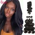 Brazilian Virgin Hair Body Wave With Closure 3 Pcs Brazilian Hair Weave Bundle With Closure Cheap Lace Closure With Weave Bundle