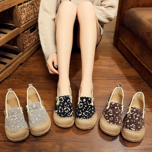 Image 3 - Veowalk Vegan Handmade Women Linen Cotton Slip on Loafers Espadrilles Bohemian Style Ladies Casual Flat Platform Sneaker Shoes