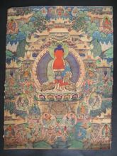 Tibet Antique Buddha meditation thangka silk brocade tibetan