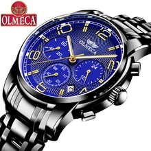 OLMECA Men Watch Waterproof Fashion Wrist Watch Luminous Hands  Military Quartz Watches Blue Top Brand Luxury цена