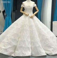 Real Photo Vestidos De Novia A-line Wedding Dress V-Neck Short Sleeves Lace Up Plus Size Chapel Train With Sequined