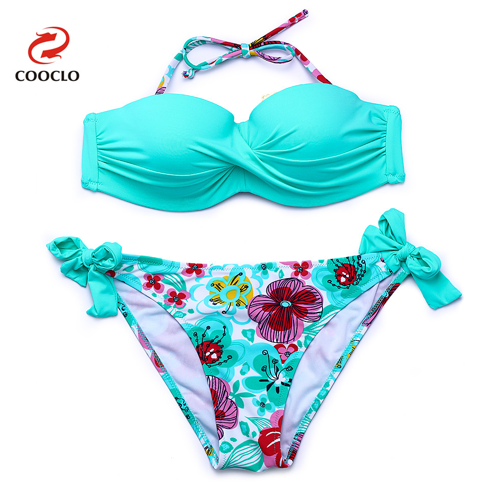 COOCLO 2018 Hot sale Floral Print Bikini Halter Bandeau Top Sexy Bikini Set Women Swimwear Biquinis Brazilian New Style Swimsuit embroidery bandeau bikini set