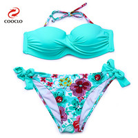 COOCLO 2019 Hot sale Floral Print Bikini Halter Bandeau Top Sexy Bikini Set Women Swimwear Biquinis Brazilian New Style Swimsuit