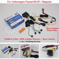 For VW Volkswagen Passat B6 B7 Car Parking Sensors Rear View Camera 2 In 1 Visible