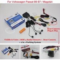 For VW Volkswagen Passat B6 B7 Car Parking Sensors Rear View Camera 2 In 1 Visible