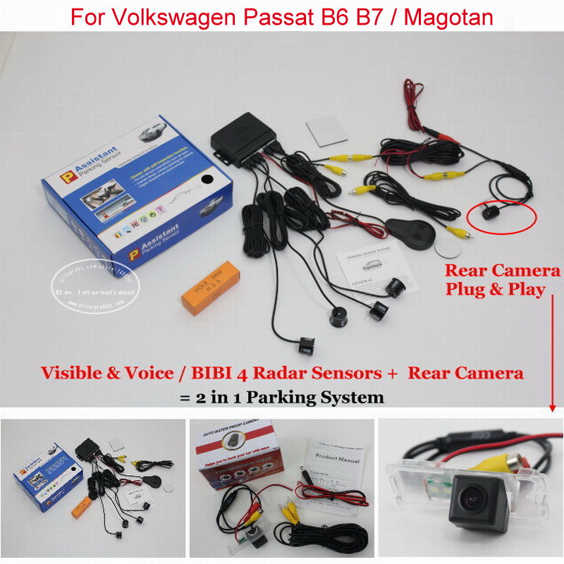 Liislee Car Parking Sensors + Rear View Camera = 2 in 1 Visual Alarm Parking System For Volkswagen VW Passat B6 B7 / Magotan leewa for volkswagen golf6 magotan beetle scirocco bora polo passat b7 hd auto backup rear view car camera ca4828