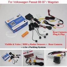 Liislee автомобиля Сенсоры парковочные + заднего вида Камера = 2 в 1 визуальной сигнализации парковка Системы для Volkswagen VW Passat B6 b7/Magotan