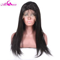 Ali Coco 130% Density Full Lace Wigs with Baby Hair Brazilian Straight 8 24inch Natural Color