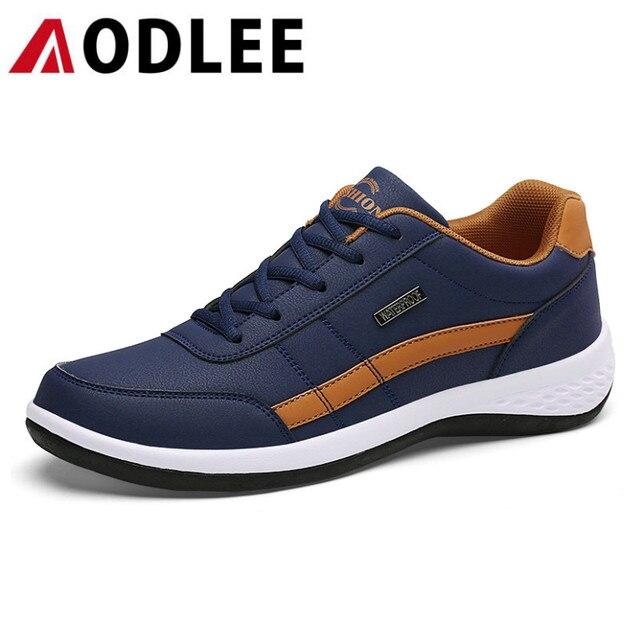 AODLEE artı boyutu 38 48 moda erkek spor ayakkabı erkekler için rahat ayakkabılar dantel erkek ayakkabı erkek yürüyüş ayakkabısı bahar deri ayakkabı erkekler
